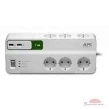 Сетевой фильтр питания APC Essential SurgeArrest 6 outlets + 2 USB (5V, 2.4A) port (PM6U-RS)