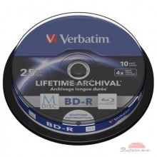 Диск BD-R Verbatim 25Gb 4x Cake 10pcs Printable M-DISC (43825)
