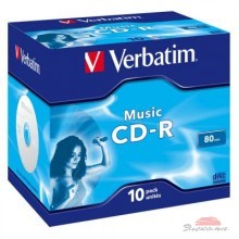 Диск CD-R Verbatim 700Mb 16x Jewel Case 10 Pack Music (43365)