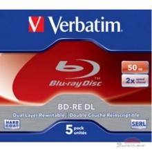 Диск BD-RE Verbatim DL 50Gb 2x Jewel Case 5шт (43760)