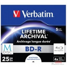 Диск BD-R Verbatim DL 25Gb 4x Jewel Case 5шт M-Disc Archival Media (43823)